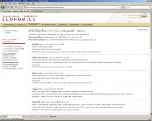 Job Market Candidates (A View)