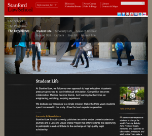Screen Shot of Law School entry page